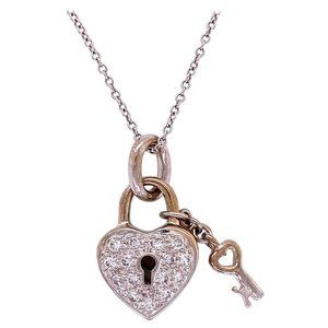 Diamond Lock and Key 18k Gold Necklace